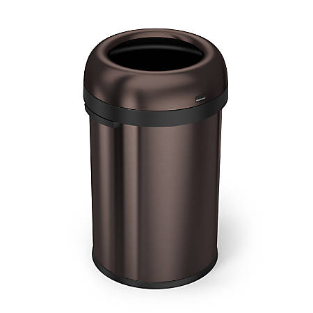 simplehuman® Bullet Open Trash Can, 30 Gallons, Dark Bronze Steel