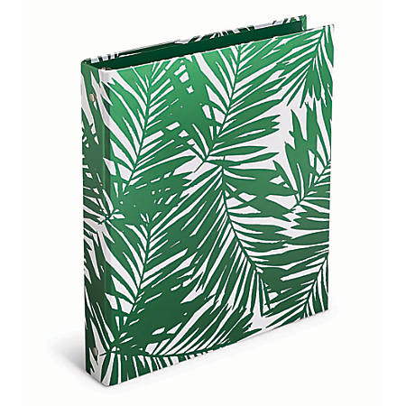 "Office Depot® Brand Casebound Binders, 1"" Rings, Green Foil Palms"