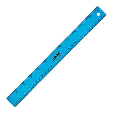 """JAM Paper® Non-Skid Stainless-Steel Ruler, 12"""", Blue"""