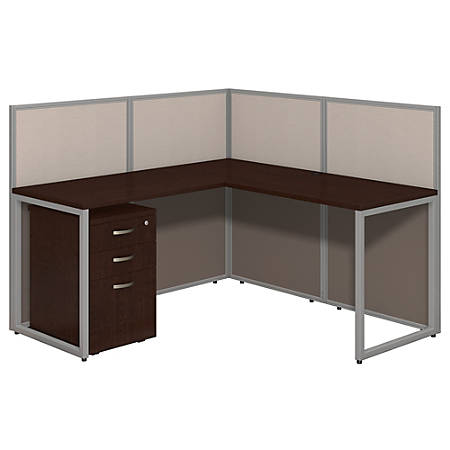 """Bush Business Furniture Easy Office L-Desk Open Office With 3-Drawer Mobile Pedestal, Fully Assembled, 44 15/16""""H x 60 1/16""""W x 60 1/16""""D, Mocha Cherry"""