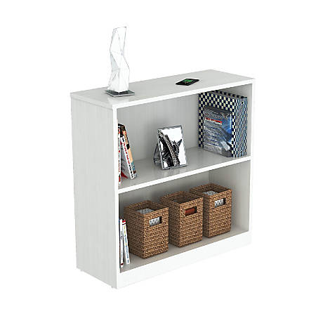 Inval 2-Shelf Bookcase, Laricina White