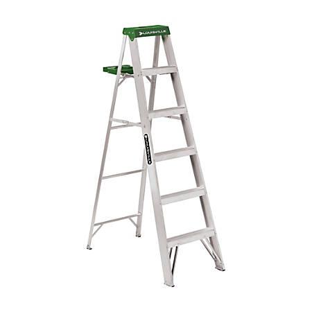 """Louisville 428 Aluminum 5-Step Ladder, 225 Lb, 72"""" x 20 1/2"""" x 39 3/8"""", Green"""