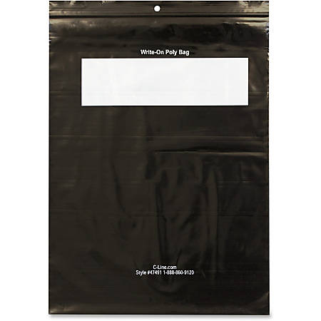 "C-Line Write-On Reclosable Poly Bags For Tools, 9""W x 12""L, Black, Box Of 1,000"