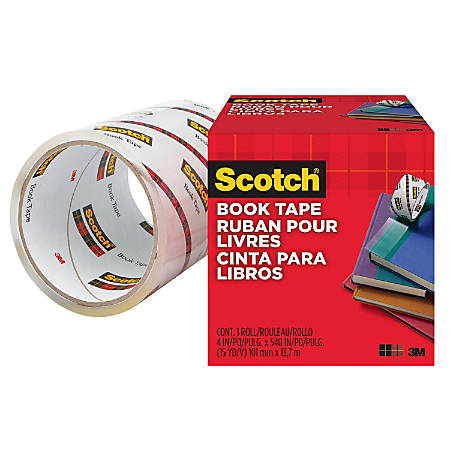 """Scotch Book Tape - 4"""" Width x 45 ft Length - 3"""" Core - Acrylic - Stretchable, Glossy - 1 / Roll - Clear"""