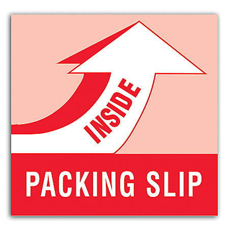 """Tape Logic® Preprinted Shipping Labels, DL1180, """"Packing Slip Inside"""", 4"""" x 4"""", Red/White/Blue, Roll Of 500"""