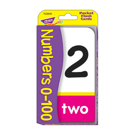 Trend Pocket Flash Cards, Numbers 0-100, Box Of 56 Cards