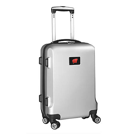 """Denco Sports Luggage Rolling Carry-On Hard Case, 20"""" x 9"""" x 13 1/2"""", Silver, Wisconsin Badgers"""
