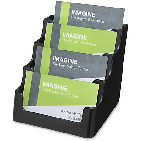 "deflecto 4-Tier Business Card Holder - 3.5"" x 3.9"" x 4.1"" - Plastic - 1 Each - Black"