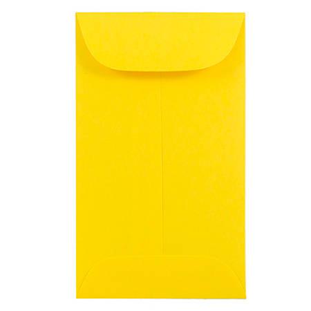 "JAM Paper® #6 Coin Envelopes, 3 3/8"" x 6"", Yellow, Pack Of 50 Envelopes"
