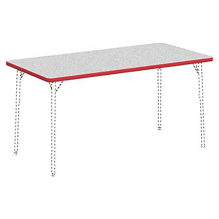 "Lorell® Classroom Rectangular Activity Table Top, 60""W x 30""D, Gray Nebula/Red"