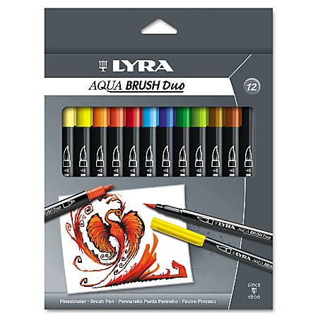Dixon® LYRA Aquabrush Duo Markers, Broad/Fine Point, Assorted Colors, Pack Of 12