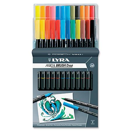 LYRA Aqua Brush Duo Set - Fine, Broad Point Type - Brush Point Style - Assorted Water Based Ink - 24 / Set