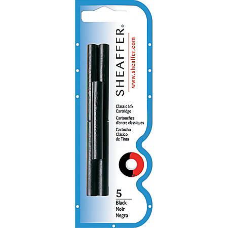 Sheaffer® Pen Refills, Ink Cartridges, Black, Pack Of 5