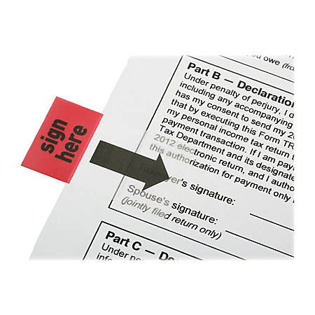 """SKILCRAFT® Self-Stick Flags, Rectangular, """"Sign Here"""", 1"""" x 1 3/4"""", Red, Pack Of 100 (AbilityOne 7510-01-389-2262)"""