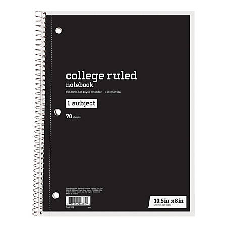 "Just Basics® Spiral Notebook, 7 1/2"" x 10 1/2"", College Ruled, 140 Pages (70 Sheets), Black"