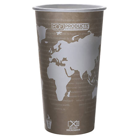 Eco-Products World Art Hot Cups, 20 Oz, White/Tan, Pack Of 50