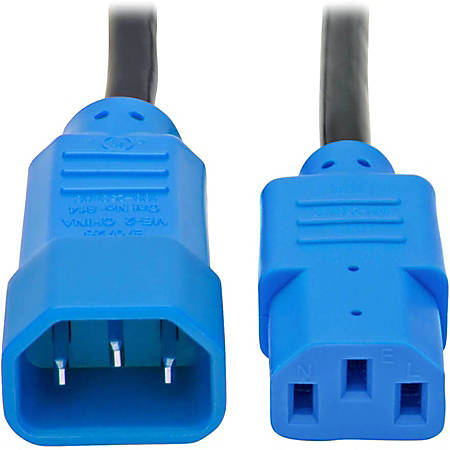Tripp Lite Standard Computer Power Extension Cord - 10A, 18AWG (IEC-320-C14 to IEC-320-C13 with Blue Plugs) 4-ft.