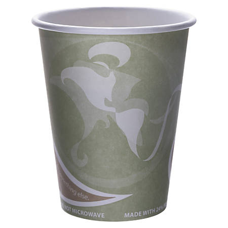 Eco-Products Evolution World PCF Hot Cups, 12 Oz, Sea Green, Pack Of 50