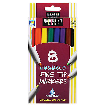 Sargent Art Washable Markers, Fine Tip, Assorted Colors, Box Of 8