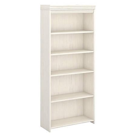 Bush Furniture Stanford 5 Shelf Bookcase, Antique White, Standard Delivery