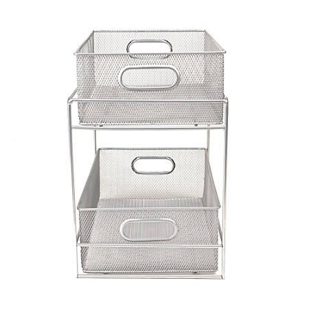 """Mind Reader 2-Tier Metal Mesh Storage Basket, 8"""" x 12"""" x 12"""", Silver"""