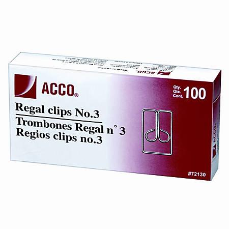 "ACCO® Regal Owl 1"" Paper Clips, Silver, Box Of 100"