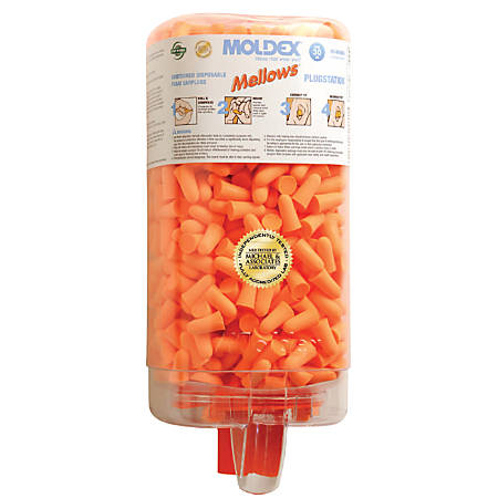 Mellows Foam Ear Plugs, Foam, Bright Orange, Uncorded, Four Dispenser Case