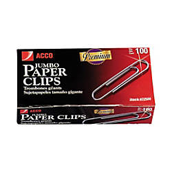 ACCO Jumbo Paper Clips Silver Pack