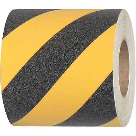 "Tape Logic® 60-Grit Anti-Slip Tread Strips, 6"" x 24"", Black/Yellow, Pack Of 50"