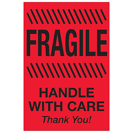 """Tape Logic® Preprinted Special Handling Labels, DL1326, Fragile Handle With Care, Rectangle, 2"""" x 3"""", Fluorescent Red, Roll Of 500"""