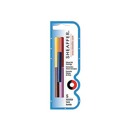 Sheaffer Skrip Fountain Pen Ink Cartridges - Black, Red, Blue, Green, Purple Ink - 5 / Pack
