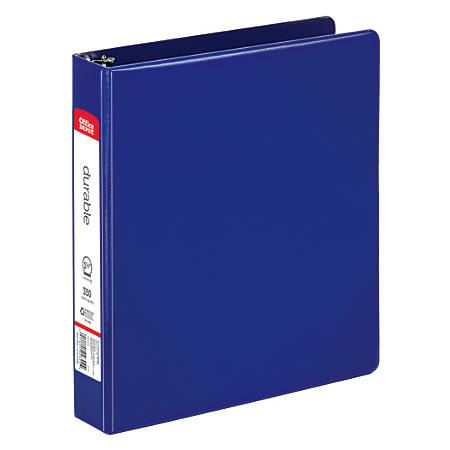 """Office Depot® Brand Nonstick Round-Ring Binder, 1 1/2"""" Rings, 64% Recycled, Blue"""
