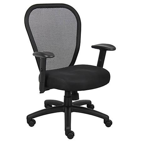 Boss Professional Mesh Mid-Back Task Chair, Black