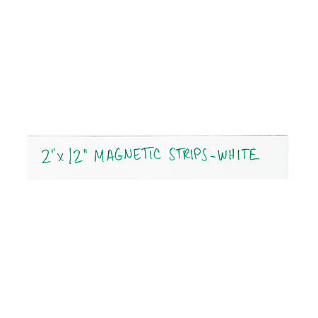 """Partners Brand White Warehouse Labels, LH180, Magnetic Strips 2"""" x 12"""", Case of 25"""