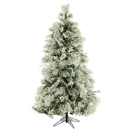 Fraser Hill Farm Flocked Snowy Pine Christmas Tree, 12', With Clear LED String Lighting
