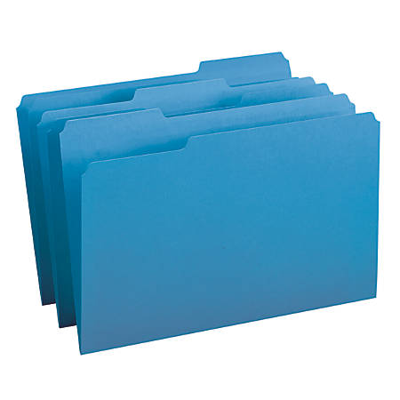 Smead® Color File Folders, Legal Size, 1/3 Cut, Blue, Box Of 100