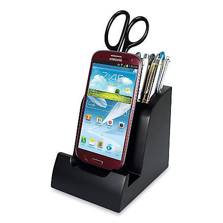 "Victor® Smart Charge Micro USB Dock With Pencil Cup, 4 7/8""H x 4 3/8""W x 3 7/8""D, Black"
