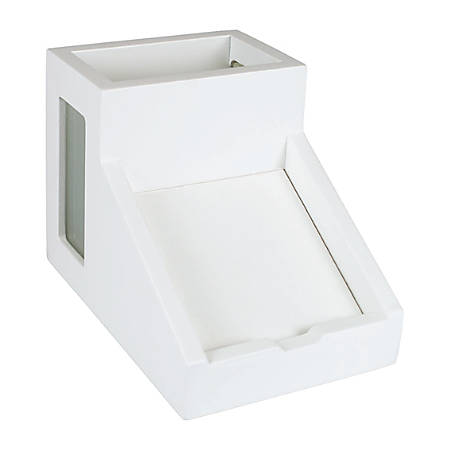 """Victor® Pure White Collection™ Pencil Cup With Note Holder, 4""""H x 4 1/2""""W x 6 3/10""""D, White"""