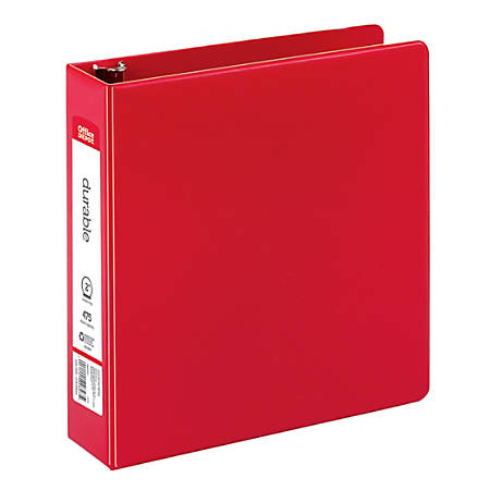 "Office Depot® Brand Nonstick Round-Ring Binder, 2"" Rings, 64% Recycled, Red"