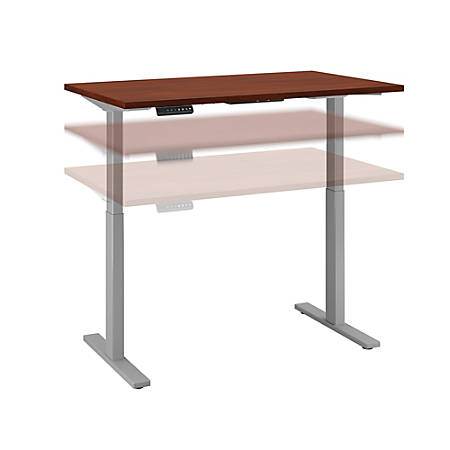 "Bush Business Furniture Move 60 Series 48""W x 30""D Height Adjustable Standing Desk, Hansen Cherry/Cool Gray Metallic, Standard Delivery"