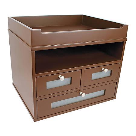 "Victor® Tidy Tower Desk Organizer, 10 3/4""H x 12 3/10""W x 10 3/4""D, Mocha Brown"