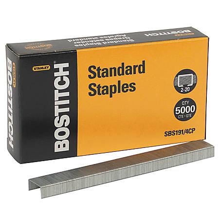 "Bostitch® Premium Standard Staples, 1/4"" Size, Full Strip, Box Of 5,000"