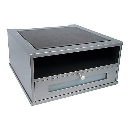 "Victor® Monitor Riser, 6 1/2""H x 13""W x 13""D, Classic Silver"