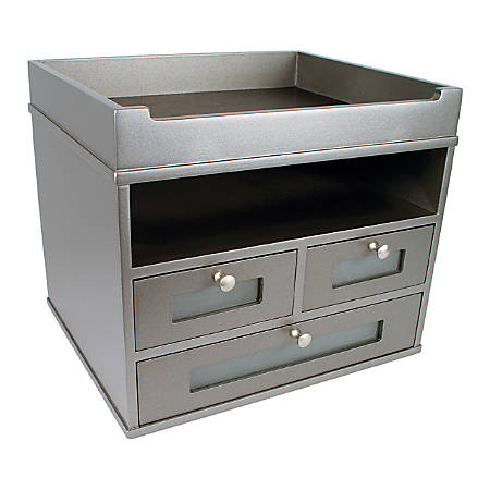 "Victor® Tidy Tower Desk Organizer, 10 3/4""H x 12 3/10""W x 10 3/4""D, Classic Silver"