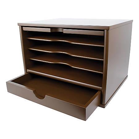 "Victor® Desktop Organizer, 9 3/4""H x 14""W x 10 3/4""D, Mocha Brown"