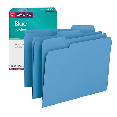 Smead® Color File Folders, Letter Size, 1/3 Cut, Blue, Box Of 100