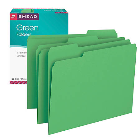Smead® Color File Folders, Letter Size, 1/3 Cut, Green, Box Of 100