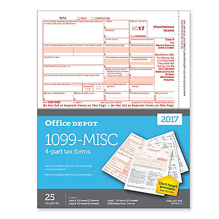 Office Depot Brand 1099 Misc Tax Forms For 2017 Tax Year 2 Up 4 Part