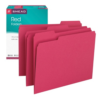 Smead® Color File Folders, Letter Size, 1/3 Cut, Red, Box Of 100 Item #  208025