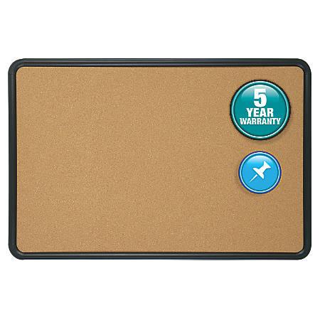 "Quartet® Contour® Cork Bulletin Board With Black Plastic Frame, 18"" x 24"""